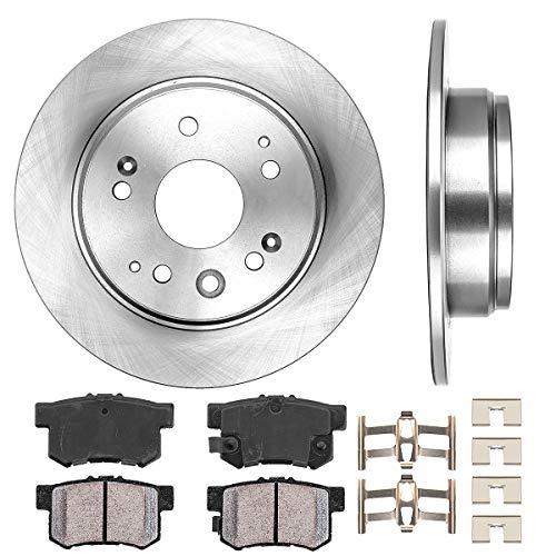 REAR 282 mm Premium OE 5 Lug [2] Brake Disc Rotors + [4] Ceramic Brake Pads + Clips