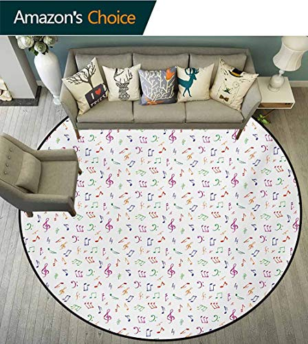 (Music Modern Machine Washable Round Bath Mat,Watercolor Icons Sonic Beats Vocals Dynamic Cultural Activity Concert Harmony Artwork Non-Slip Living Room Soft Floor Mat,Diameter-39 Inch)