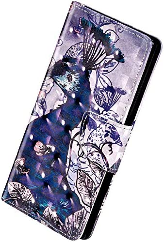 Herbests Kompatibel mit Samsung Galaxy A10 Hülle Klapphülle Leder Flip Schutzhülle Wallet Handyhülle Bunt Bling Glänzend Glitzer Muster Brieftasche Handytasche Case,Pfau