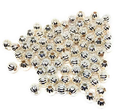 (Silver Plated Corrugated 4mm Round Beads (200))