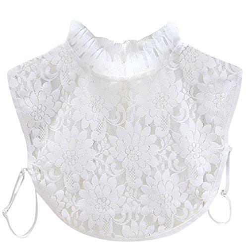 Faux Detachable Fur (Joint Women Girl Fake Collar Detachable Lapel Lace Floral Shirt Blouse False Collars Choker Necklace (White))