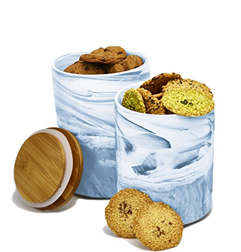 2pc Porcelain Kitchen Canister Set with Bamboo Lids – Sky Blue Marble Containers with Airtight Seal – Sugar, Coffee, Flour or Food Storage Jar - Planter Flower Pot - by Marbelous