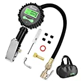 SlimK Digital Tire Pressure Gauge-Auto Tire Inflator 200 PSI Air Compressor Accessories Heavy Duty with Air Chuck Straight Lock-On, Value Extender, Air Hose for Car Truck Motorcycle with Storage Bag