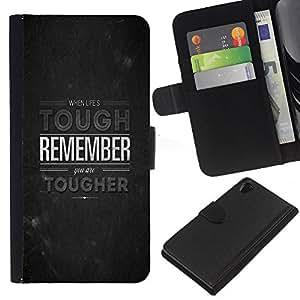 - GREY TOUGH STONE INSPIRATIONAL REMEMBER - - Prima caja de la PU billetera de cuero con ranuras para tarjetas, efectivo desmontable correa para l Funny House FOR Sony Xperia Z2 D6502