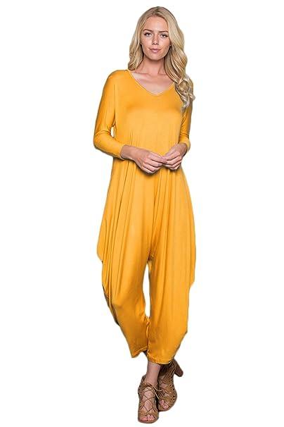 e2756ca5f43a Annabelle Women s Long Sleeve Comfy Harem Jumpsuit Romper Pockets Yellow  Mustard Small J8002