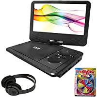 Sylvania 9 Swivel Screen Portable DVD Player with 5 Hour Rechargeable Battery (SDVD9019B) + Bluetooth Bundle with Wireless Headphones
