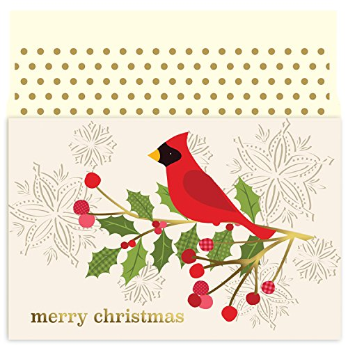 Red Cardinal in Holly Christmas Cards by Masterpiece Studios - 18 Cards and Envelopes (Masterpiece Holly)