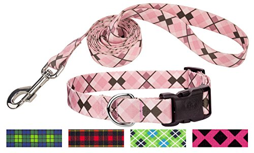 Country Brook Design Pink and Brown Argyle Deluxe Dog Collar & Leash-Medium