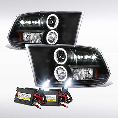 Autozensation For Dodge Ram Truck Black LED Halo Projector Headlights+6000K HID Bulb Kit