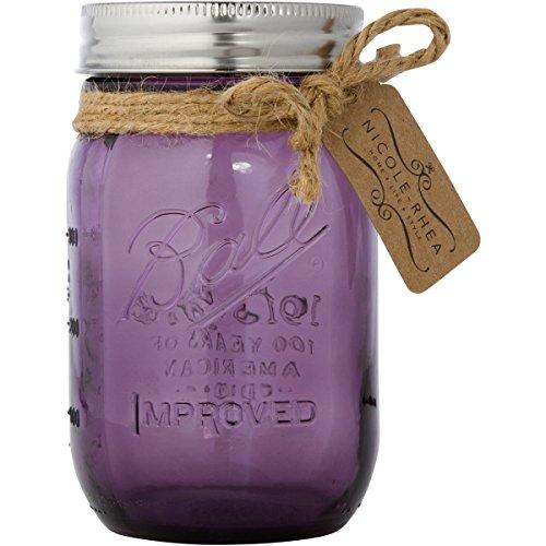 Stainless Steel Mason Jar Toothbrush Holder by Nicole-Rhea (with Ball Brand Mason Jar) (Model 10-301MP Mirror Polished - Purple Glass)