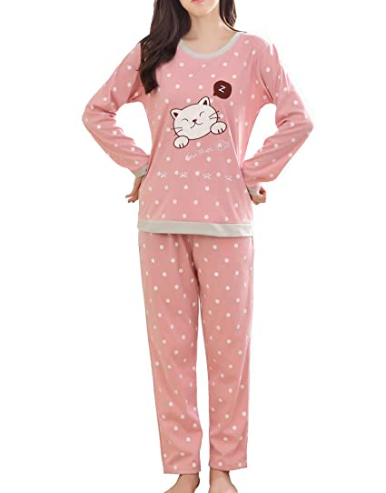 1ca4ba6830ec Vopmocld Big Girls Long Sleeve Sleepwears Cute Sleepy Cat Polka Dots Pajamas  Loungewears Pink