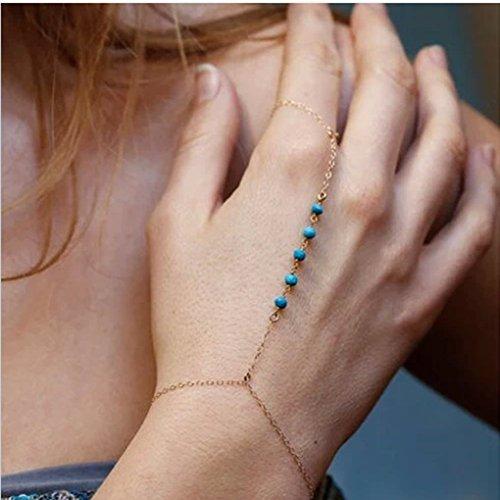 JOLLYCHIC Women's Lady Girl Fashion Retro Bead Opal Bracelet Finger Ring Bangle Slave Chain Blue