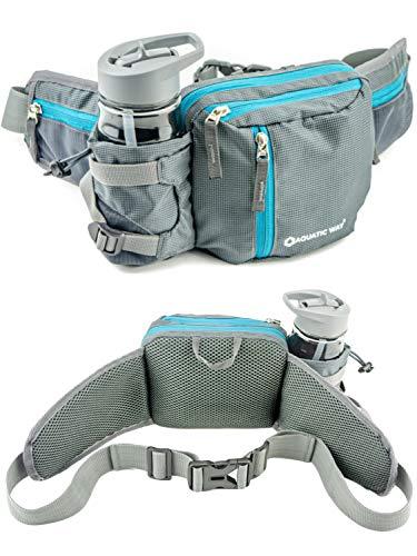 Aquatic Way Waist Bag Fanny Pack with Water Bottle Holder for Men Women Running Hiking Travel Biking - Fits All Phone Sizes Wallet Passport Keys - Two Extra Waist Pockets - Lightweight Adjustable