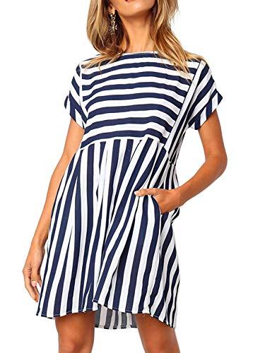 Naggoo Skater Dresses for Women,Women Casual Round Neck Striped Short Sleeve Pleated Short Dresses,Navy Blue,M