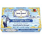 SANTO AMARO Artisanal Tuna in Spring Water (12 Pack, 120g Each) 100% Natural - Wild Pole & Line Caught Skipjack Light Tuna - Solid Pack – from PORTUGAL