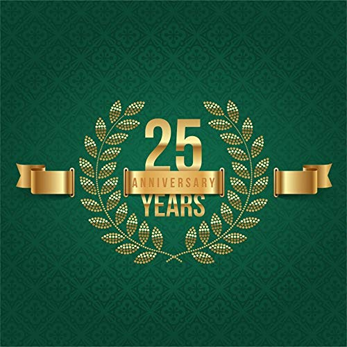Laeacco 10x10ft 25 Years Anniversary Emblem Backdrop Vinyl Golden Tree Branches Ribbon Dark Green Damask Background Openning Up Marriage Birthday School Anniversary Jubilee Celebration Party Banner