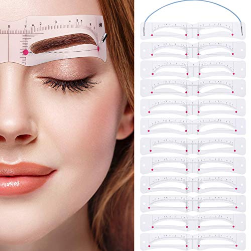 Eyebrow Stencil,Eyebrow Shaper Kit 12 Styles 3 Minutes Makeup Tools For EyebrowsExtremely Elaborate Reusable Eyebrow Template Stencils for A Range Of Face Shapes
