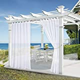 Outdoor Decor White Sheer Curtains - 108'' Tab Top Sheer Outdoor Drapes Water Repellent Sunlight Through Porch Privacy Protect Outdoor Panels for Patio, Free 1 Tieback, 54'' x 108'', 1 Piece