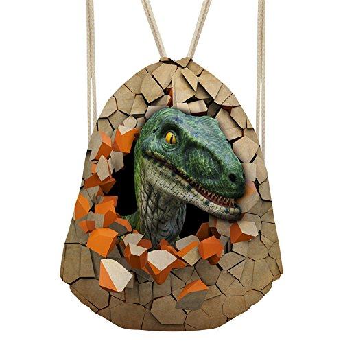 Price comparison product image Showudesigns Brown Dinosaur Pattern Teenager Drawstring Daypack Beach Shopping