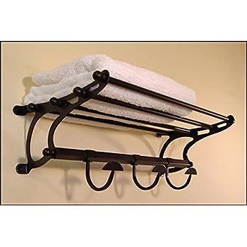 Amazon.com: Paris Hotel Towel Rack Shelf w/ Hooks ~ Large 26\