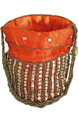 Indian Indian Orange Potli Batwa Bag Bag Potli PHB3005 Fancy Gold Orange Antique and qUAWIZwCx