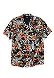 Ks Island Men's Big & Tall Tropical Caribbean Print Shirt, Black Floral Big-8Xl