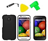 Phone Cover Case Cell Phone Accessory + Extreme Band + Stylus Pen + LCD Screen Protector + Yellow Pry Tool For Straight Talk Tracfone NET10 Motorola Moto E XT830C (Black)