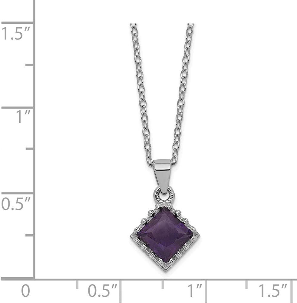 925 Sterling Silver 18 Inch Purple Amethyst Chain Necklace Pendant Charm Gemstone Fine Jewelry For Women Gifts For Her
