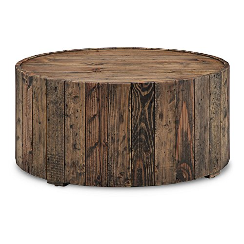 (Magnussen T4017-45 Dakota Reclaimed Wood Round Cocktail Table with Casters, 16.5