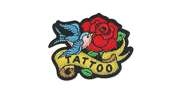 Mediac Escudo Termoadhesivo Tattoo 64x50 mm Golondrinas y Rosas x1 ...