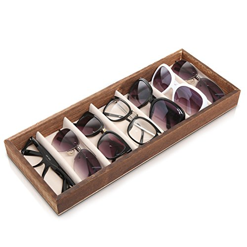 Modern Brown Wood 7 Compartment Eyewear Storage Organizer Box / Open Top Sunglasses Display - Sunglass Display