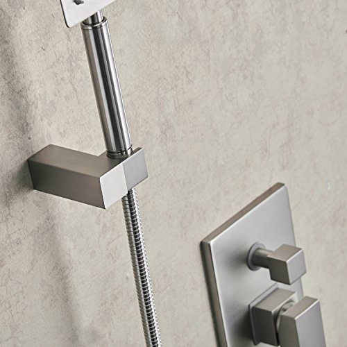Aquafaucet Brushed Nickel Bathroom Luxury Rain Mixer Shower Combo Set Wall Mounted Rainfall Shower Head System (Contain Shower faucet valve body and trim) by Aquafaucet (Image #5)