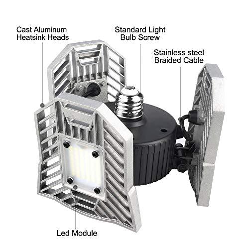 LED Garage Light Motion Detection - Motion Activated Aluminium LED - Best LED Light Bulb for Garage - 6000LM CRI Garage LED Lighting System - 3 Adjustable Panels - 2018 New Design LED Garage Lighting by JMTGNSEP (Image #8)