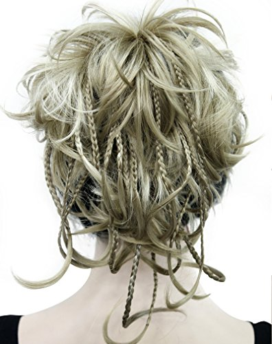 Kalyss 12 inch Short Wavy Culry Ponytail Handmade Braid Hair Extension With Claw Clip In Hairpiece (Braid In Ponytail)