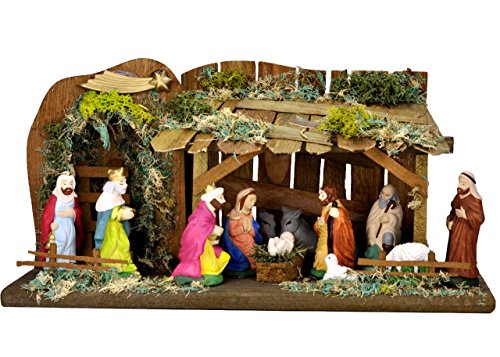 Handmade Nativity Set with Wooden Stable and 12 Figures Clay Nativity Set