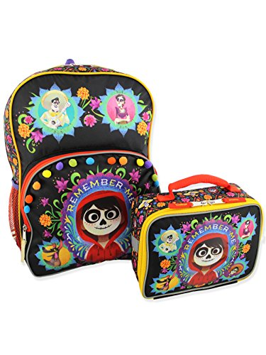 Disney Coco Kids Backpack and Lunch Box School Set (One Size, Black/Multi)