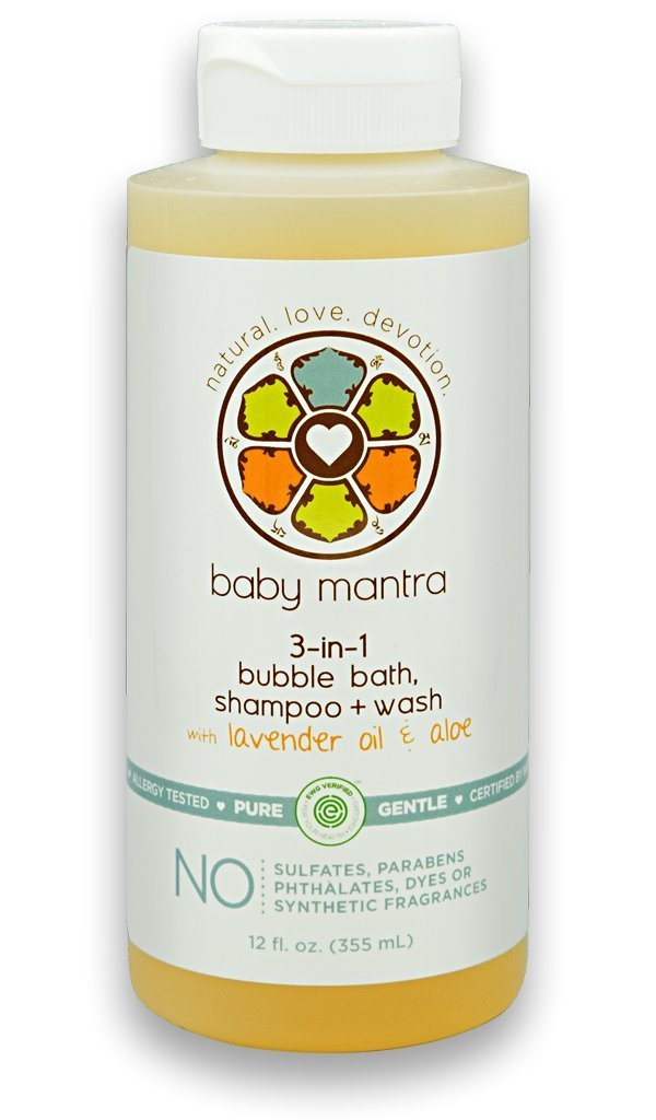 Baby Mantra 3-in-1 Bubble Bath, Shampoo and Body Wash made with Natural, Hypoallergenic, & EWG Verified Ingredients for Infants, Toddlers, and Kids with Sensitive Skin, 12 Fluid Ounces by Baby Mantra