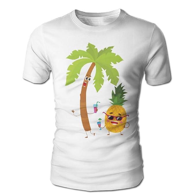 5194e48f Amazon.com: Huajsu Men's Funny Pineapple Under Tree Short Sleeve T-Shirt Tee  with Round Neck Tshirt Cotton for Mens Youth Boys: Clothing