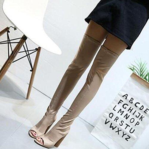 Easemax Womens À La Mode Peep Toe Haute Chunky Talon Genou Bottes Hautes Sandales Abricot