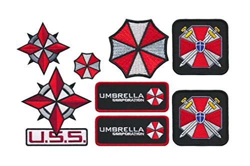[Patch Squad Men's Ultimate Resident Evil Umbrella Corporation Costume Patch[8 Piece] Free Gift With Purchase (New Set Of] (Leon Kennedy Costumes)