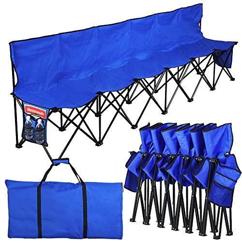 (Yaheetech Lightweight Portable Folding Bench Folding Chair Camping Chair Outdoor Team Sport Bench 6 Seater Blue bleacher Chair Sideline Seats with Back & Sidebags & a Carry Bag)