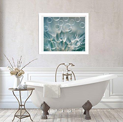 Bathroom Decor, Dandelion Photography Print, Modern Bathroom Wall Art, Rain Water Drops and Bubble Picture, Teal Bathroom Wall Art