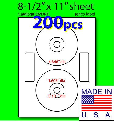 Jenco-Label 200 Neato Compatible Cd/Dvd Labels, Matte White Laser InkJet