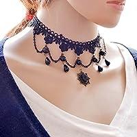 Hunputa Elegant Vintage Princess Lace Gothic Necklace Victorian Lolita Choker Pendant Vampire Chain