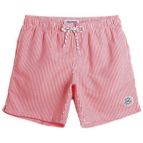 MaaMgic Mens Stripe Swim Trunks Slim Fit Swimming Shorts Quick Dry Mid Length Mesh Lining -