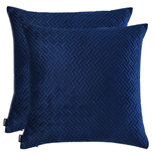 Artcest Set of 2, Decorative Velvet Bed Throw Pillow Case, Sofa Soft Quilted Pattern, Comfortable Couch Cushion Cover, 18''x18'' (Navy Blue) by Artcest