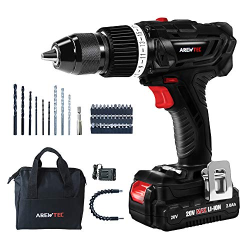 AREWTEC Drill Driver Set with Hammer Function 20V 2.0Ah Lithium-Ion 398 In-lbs with 2 Speed PT160101 Cordless Set,1/2″ KEYLESS METALLIC CHUCK,19+2 Torque Adjustment,1 Hour Fast Charger,45 Accessories