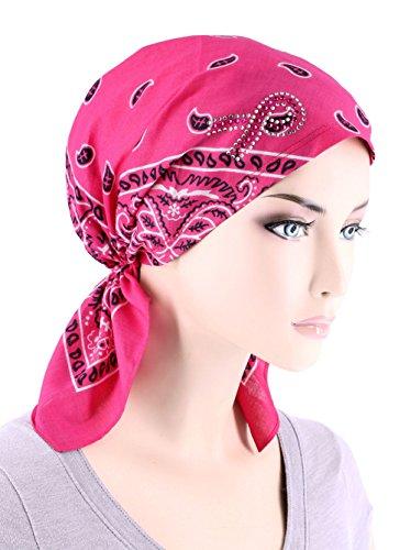 Paisley Bandana Scarf Pre Tied Breast Cancer Awareness Pink Ribbon Rhinestone Hat Cap Hot Pink ()