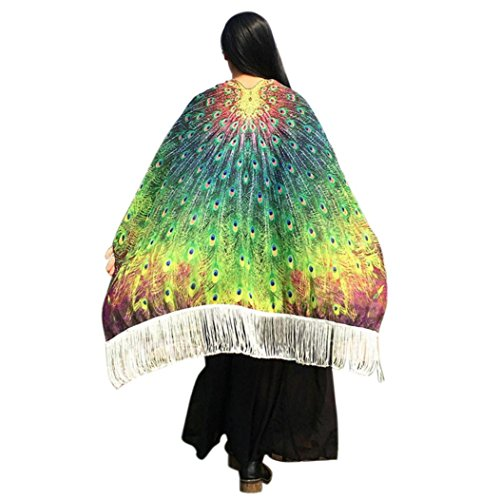 Green Your Decor Peacock Costume (Usstore 1PC Bohemian Peacock Wing Printed Tassels Shawl Pashmina Nymph Pixie Costume Accessory Beach Towel Wall Hanging Cloth Decor (Yellow))