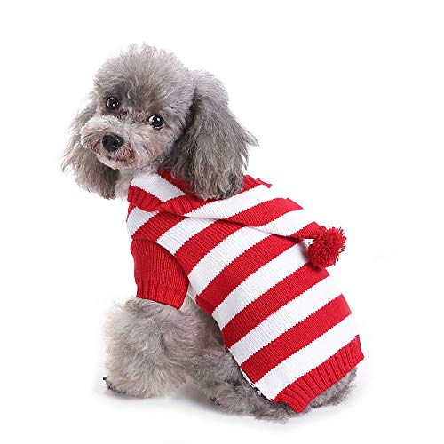 Yunison Dog Cat Stripe Sweater with Hoodie for Christmas Sweatshirt Winter Pet Clothes Xmas Puppy Outfits